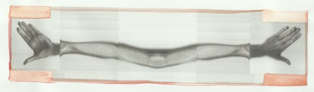 Ruth Barker, A Scarf for GWL (welcome salmon, palms wide), 2012