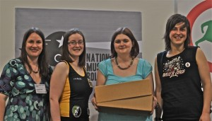 Archivists Laura and Hannah at the handover of the first NMRD items