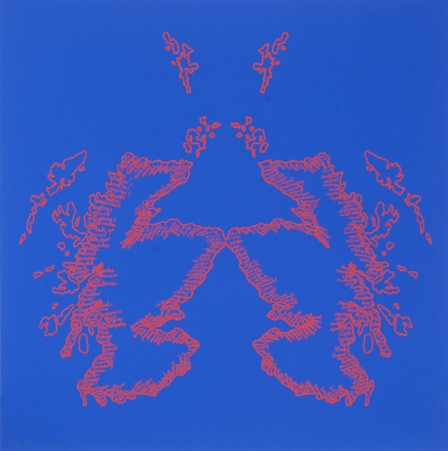 Sam Ainsley, This Land is Your Land, 2012, red on blue