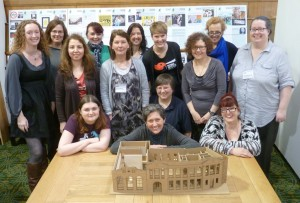 The GWL Team with a model of our future home in Bridgeton