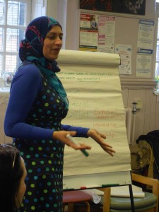 Woman presenting at workshop