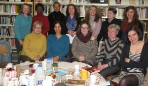 Some of the women from the Commonwealth Women's Writing group. With our round table!