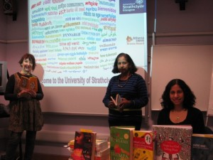 Indian Scottish writer, Leela Soma with Indian/Canadianpoet Nalini Paul and myself at Strathclyde University.