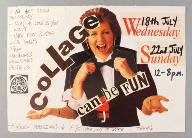 Castlemilk Womanhouse collage workshop poster, Julie Roberts, 1990. Glasgow Women's Library collection. © Glasgow Women's Library.
