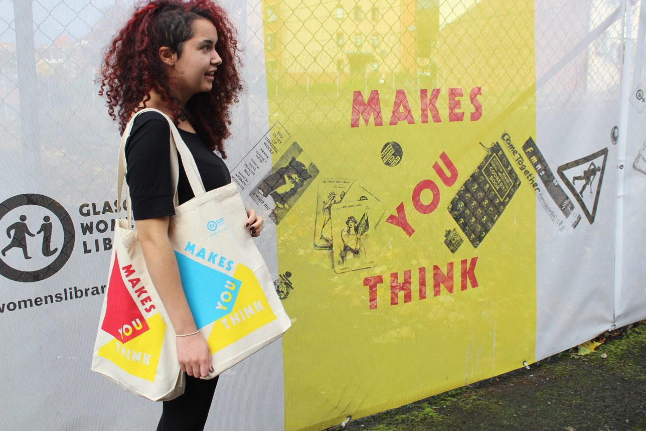 Iona with Makes You Think tote bags