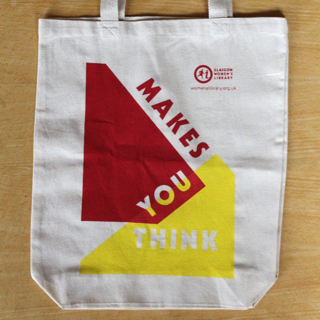 Makes You Think tote bag in blue and yellow