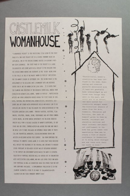 What is Castlemilk Womanhouse - Artists Call Out Poster, Cathy Wilkes, Julie Roberts and Rachael Harris, 1990. Glasgow Women's Library collection, © Glasgow Women's Library