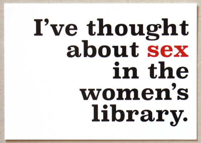I've thought about sex in the Women's Library postcard