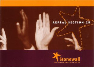 Stonewall Repeal Section 28 campaign postcard