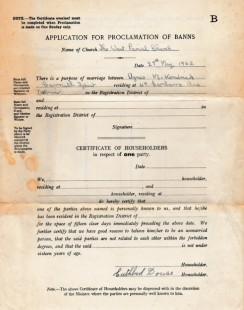 Application for Proclamation of Wedding Banns, 1960s
