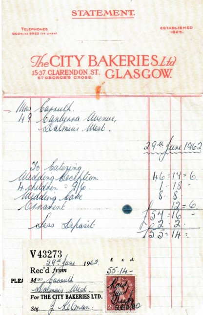 City Bakeries Wedding Catering Receipt