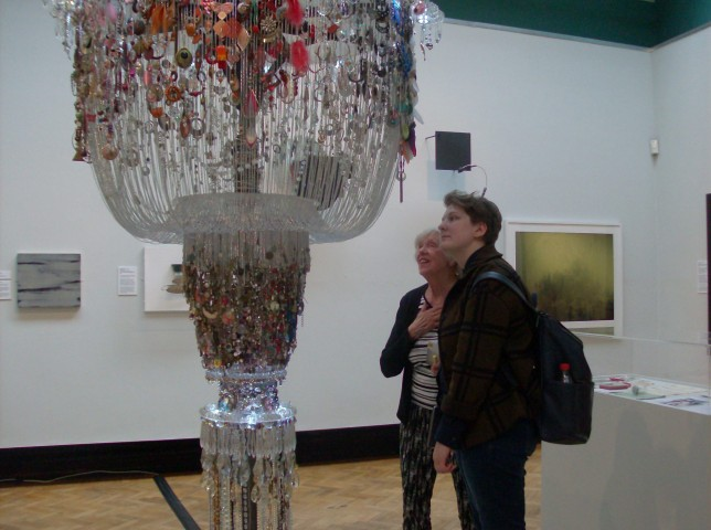 Alice and Laine looking at the Chandelier of Lost Earrings, Lauren Sagar (Credit: Mary Alice)