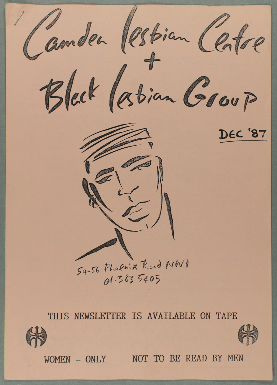 Camden Lesbian Centre and Black Lesbian Group Newsletter, unknown designer, December 1987