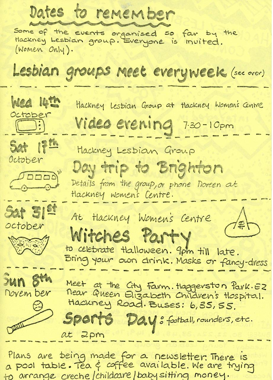 Hackney Lesbian Women's Group Events Programme c. 1984