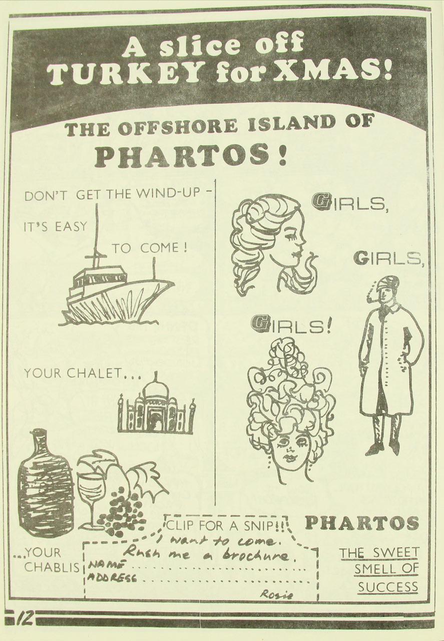 'The Offshore Island of Phartos' holiday advertisement, Sappho, Volume 7, Number 7