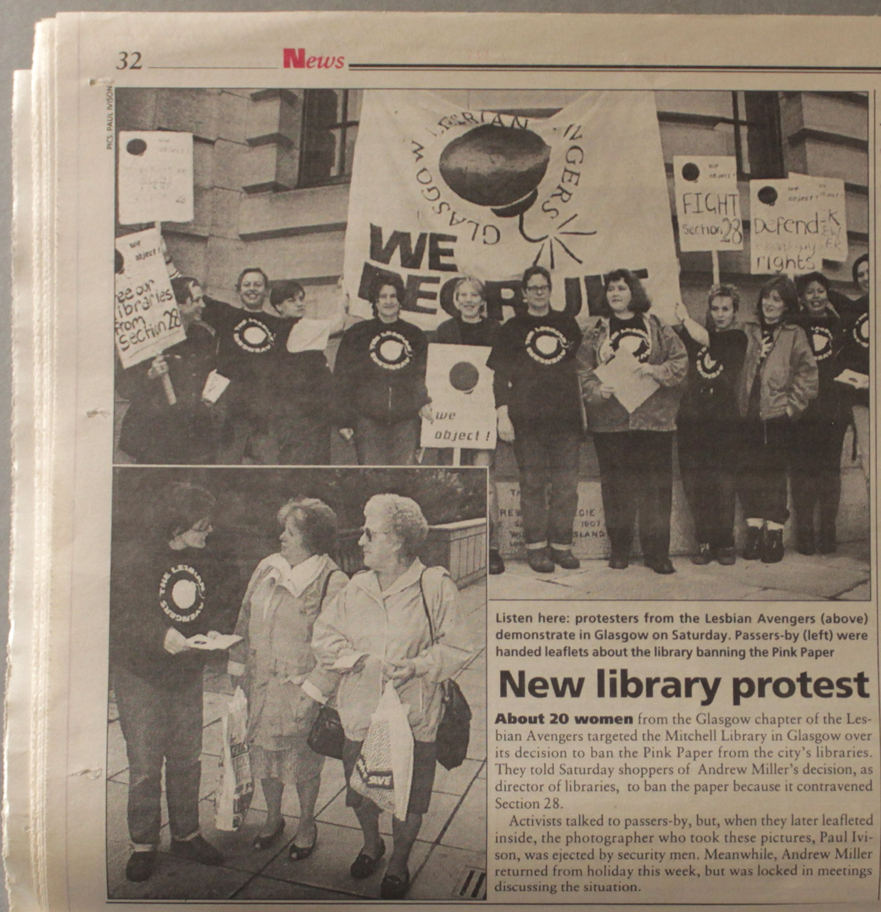 Coverage of the Lesbian Avengers action at the Mitchell Library, Pink Paper, 6th October, 1995.