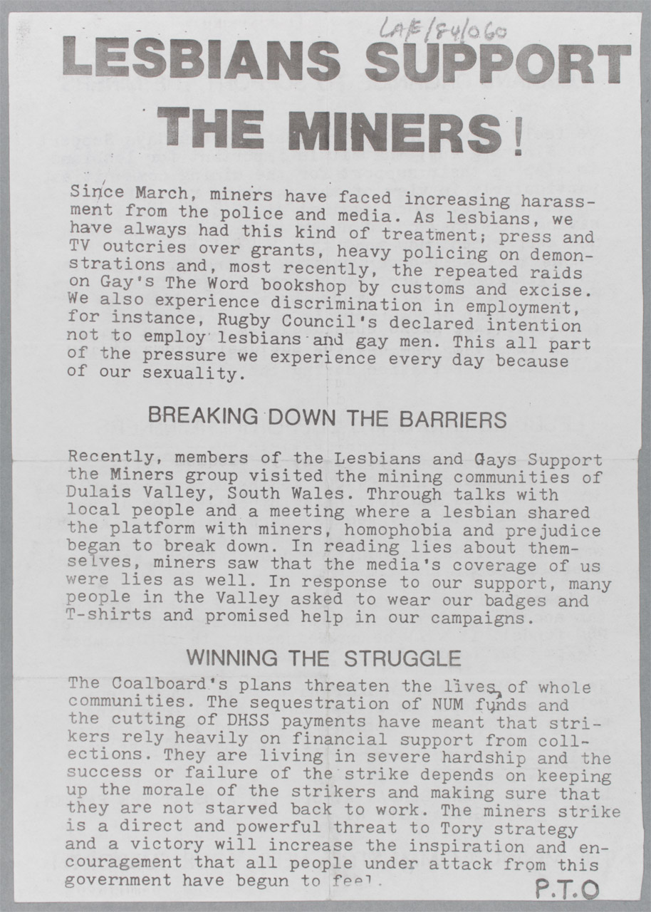 Lesbians Support the Miners flyer,  unknown creator, circa 1984