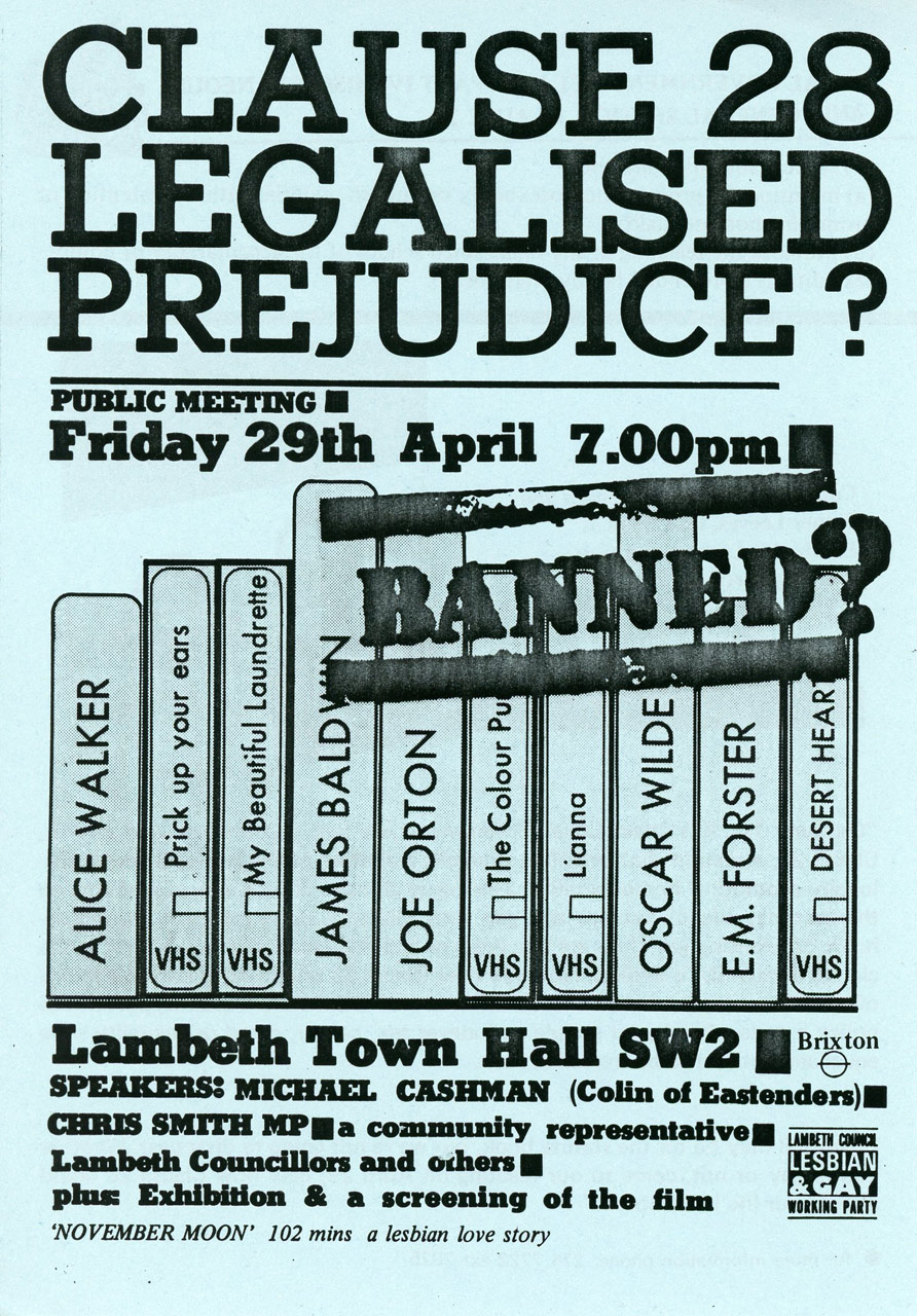 Section 28: Legalised Prejudice? Poster, London, unknown designer, April 1988
