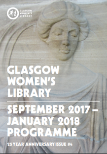Autumn 2017 Programme Cover showing one of the stone carvings of a woman from the Library's facade