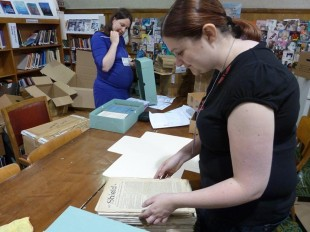 Archivist Hannah Little and volunteer (and current acting archivist) Laura Stevens rehousing the Josephine Butler Society archive