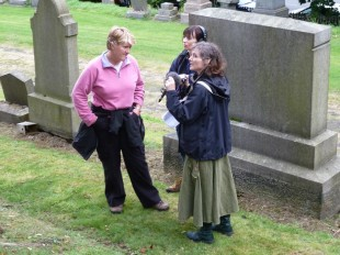 Clare Balding recording 'Ramblings' radio programme with GWL at the Necropolis