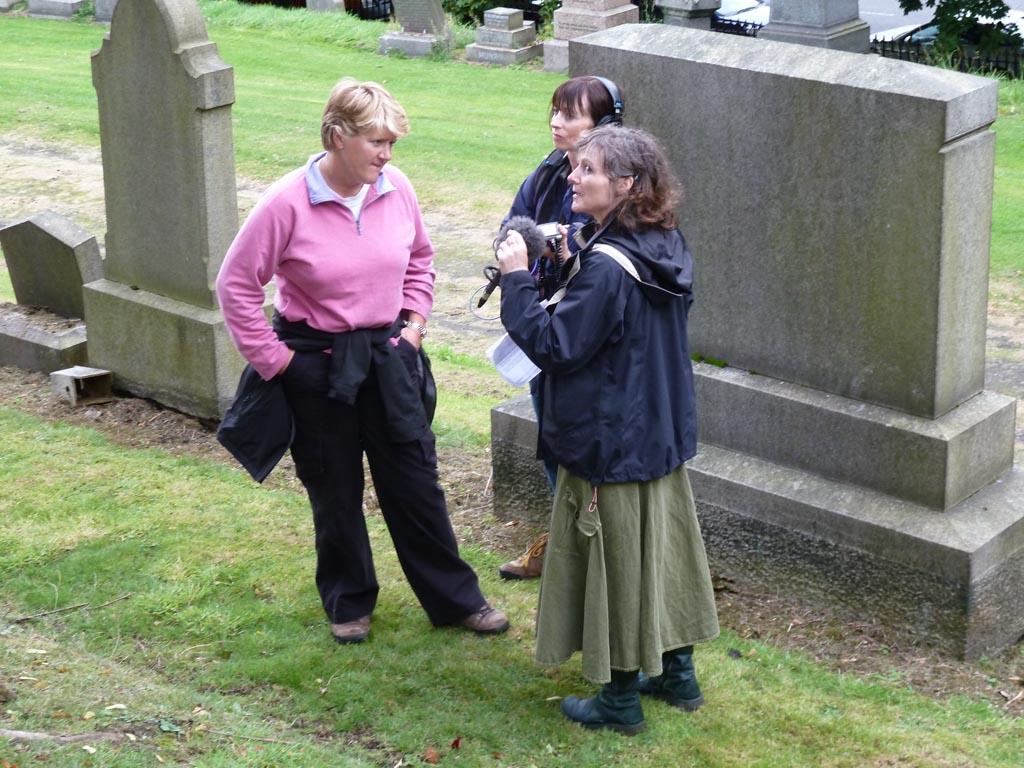Clare Balding recording 'Ramblings' radio programme with GWL at the Necropolis