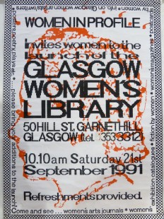Glasgow Women's Library launch poster, 1991