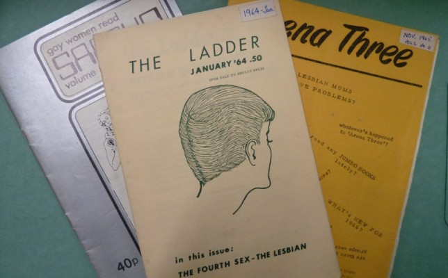 Copies of early lesbian magazines The Ladder, Sappho and Arena 3 from the Archive
