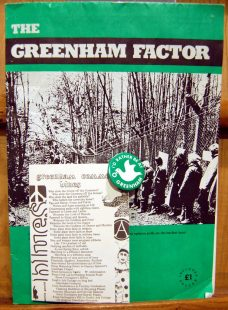 Greenham Common badge, The Greenham Factor and postcard of Greenham Common Blues by ennis gould