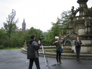 Filming the video podcast in Kelvingrove Park