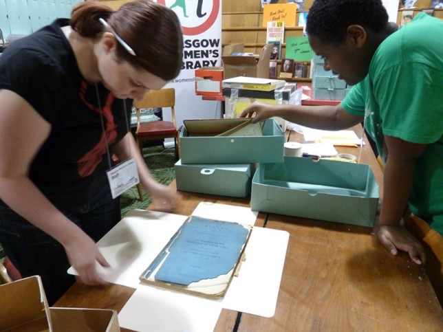 Volunteers Laura and Deborah rehousing the Josephine Butler Society archive