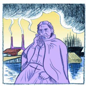 Pipe smoking forewoman, Big Rachel illustration by Heather Middleton