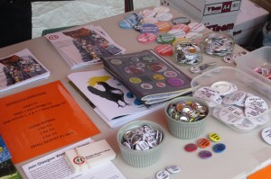 The zines and the various badges the hens created.