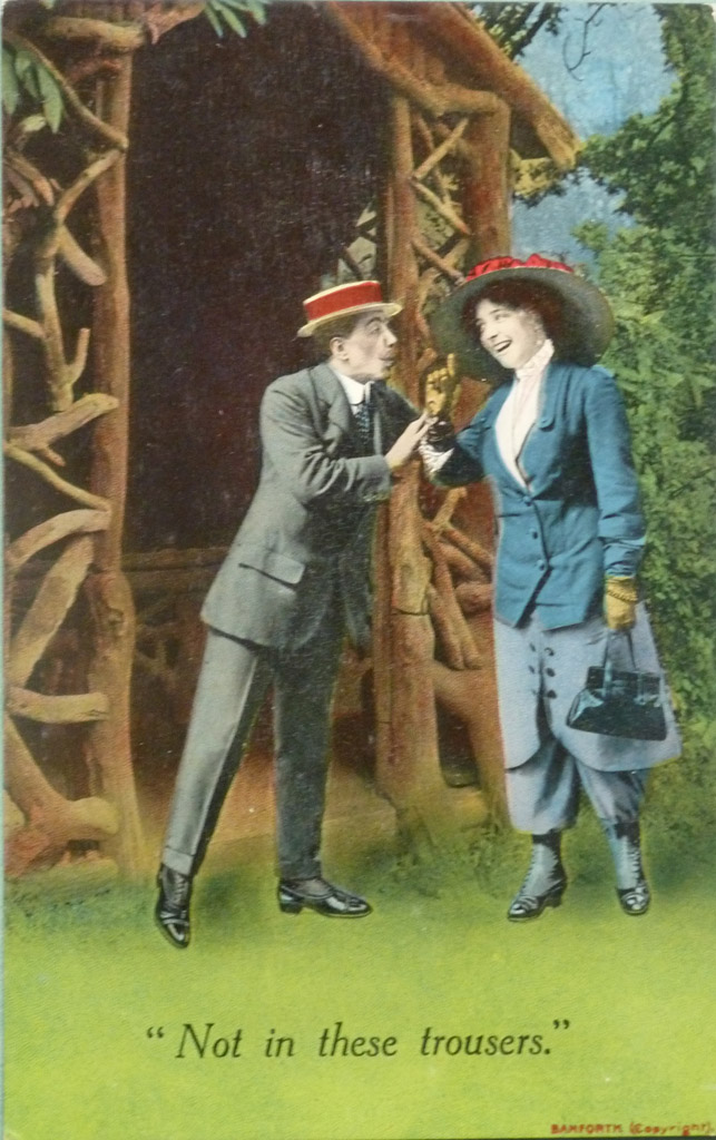 'Not In These Trousers' postcard