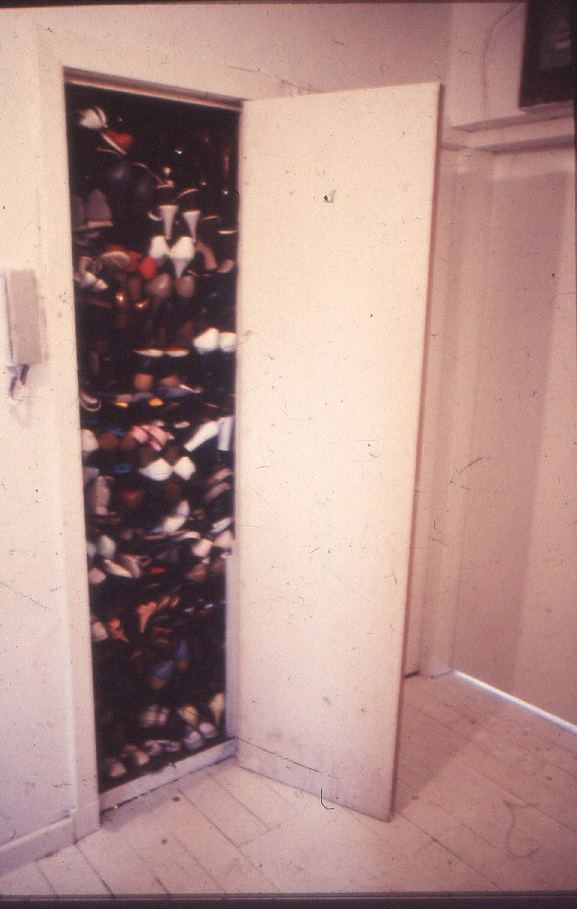 Julie Roberts, Rachael Harris, Lorraine Shadoin and others, Shoe Cupboard with shoes from Paddy's Market, 1990. Image courtesy of Claire Barclay