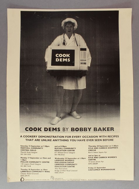 Bobby Baker, Cook Dems (poster), 1990. Castlemilk Womanhouse Collection, Glasgow Women's Library. © Glasgow Women's Library.