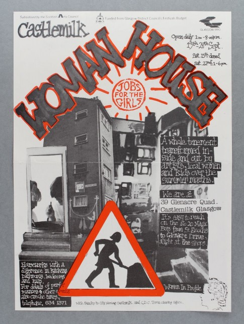 Castlemilk Womanhouse poster, Julie Roberts, 1990. Glasgow Women's Library collection. © Glasgow Women's Library