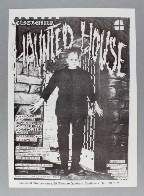 Haunted House poster, Castlemilk Womanhouse, 1990. Poster design by Julie Roberts and Rachael Harris. Glasgow Women's Library Collection, © Glasgow Women's Library