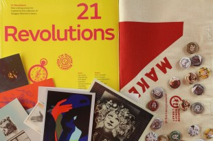 Art Lover's Christmas package #3: 21 Revolutions, exclusive badges by Delphine Dallison, Makes You Think tote bag and more!