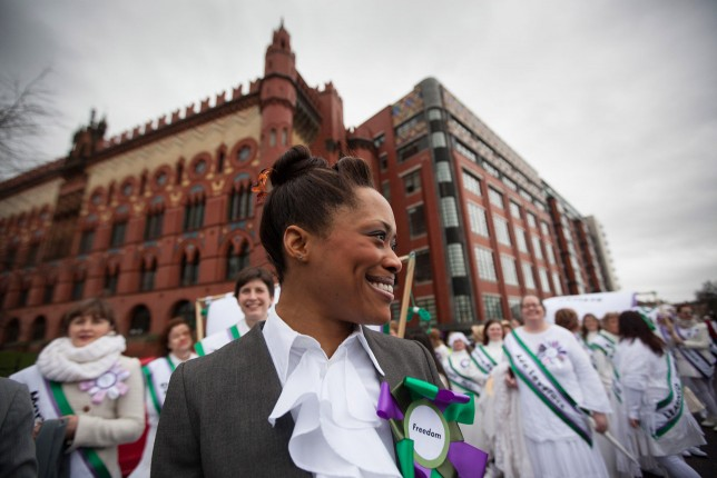 Patricia Panther as 'Woman' leading the March Of Women on 7th March 2015