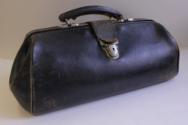 Leather midwife's bag, 1950s