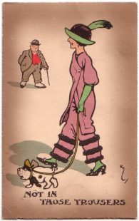 """Not In Those Trousers"" Anti-suffragette postcard"