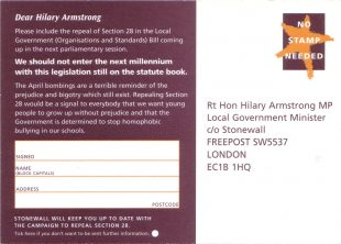 Stonewall Repeal Section 28 campaign postcard verso