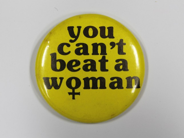 'You can't beat a woman' anti-violence against women badge