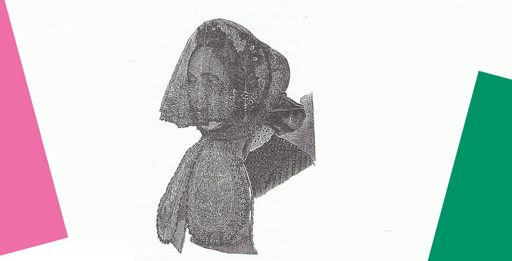 Pencil drawing of woman's face with scarf.