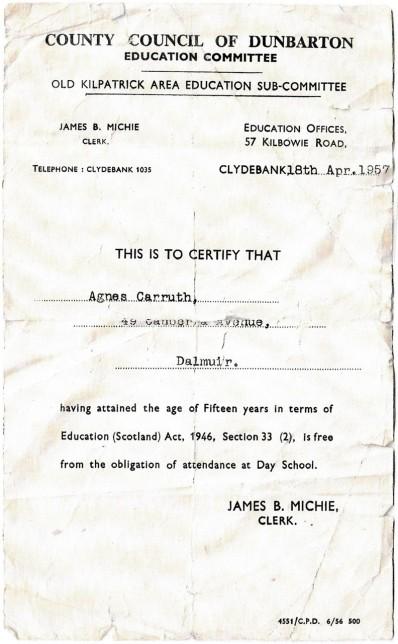 School Leaving Certificate, 1957