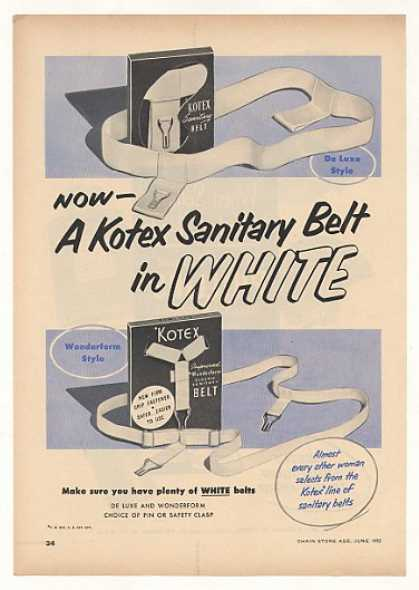 Kotex Sanitary Belts Trade Advertisement (1952)
