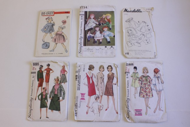 Selection of sewing patterns, 1950s and 60s