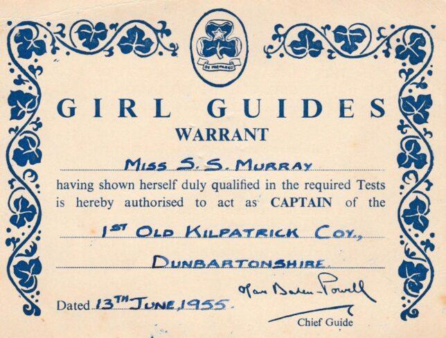 Girl Guide Warrant, 1953
