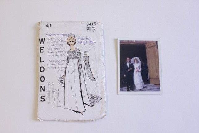 Wedding dress sewing pattern, 1964, and the bride wearing the dress she made.